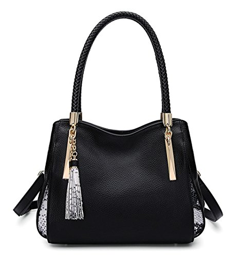 Tote Ladies SAIERLONG Designer Layer Womens Shoulder Of Leather First Handbags Black Black Bags FHw6TqaH