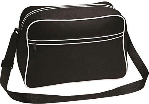 Bagbase Unisex estilo Retro para hombre bolsa para raquetas de tenis bolso de hombro/mochila de camiseta de mujer con bolsillo con cremallera negro/blanco