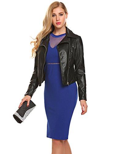 Modfine Para Manga Vestido Corta Mujer Azul Corte Imperio gqOSwngr