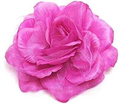 卒園式 入学式 結婚式 花 パーティー 二次会 髪飾り 大バラコサージュ・クリップ2WAYタイプ DCX003 (Pink)