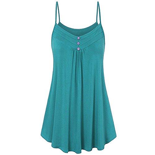 HGWXX7 Women Summer Casual Loose Button V Neck Solid Cami Vest Blouse Tank Tops (XXXXL, Green)