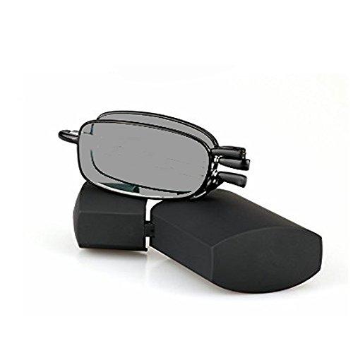 WEARKAPER Folding Sun Photochromic Finished Men Women Myopia Eyeglasses Power -1.00 Thru -4.00 (-1.50, Black)