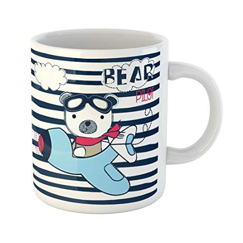 59b3d2c57 Semtomn Funny Coffee Mug Pilot Bear on Striped Background T Shirt Graphics  for Kids 11 Oz