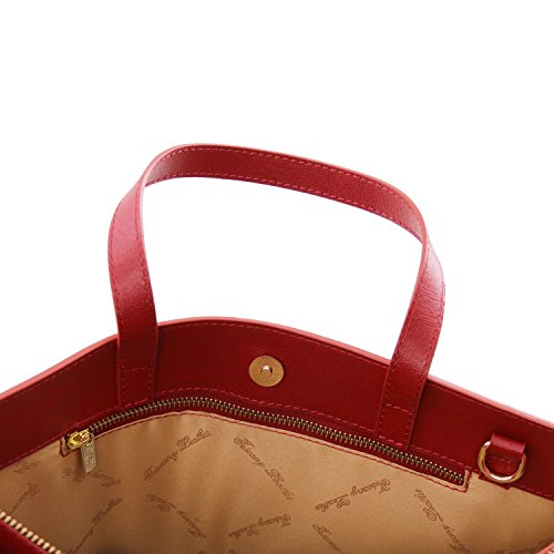 Taupe for Palermo Dark briefcase Saffiano compartments Leather 3 Red woman Tuscany Leather v0x5wIIz