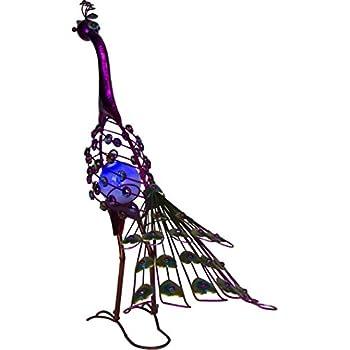 """Trademark Innovations 26"""" Tall Solar Metal Peacock Garden Sculpture (Single Set)"""