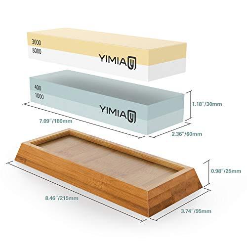 Sharpening Stone Kit, YIMIA 4 Side Grit 400/1000 3000/8000 Whetstone, Knife Sharpener Waterstone with Non-Slip Bamboo Base & Flattening Stone & Angle Guide by YIMIA (Image #1)