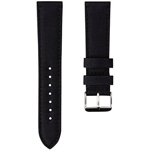 Geckota Nylon Canvas Fabric Padded Durable Sport Watch Band, Black, ()