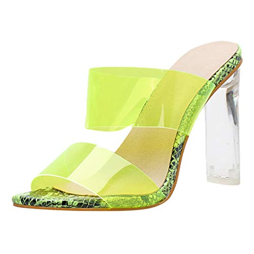 (kaifongfu Ladies High Heel Sheepskin Genuine Leather Sexy Mouth Women Sandals Heel Party Wedding Casual Sandal(Green,35))