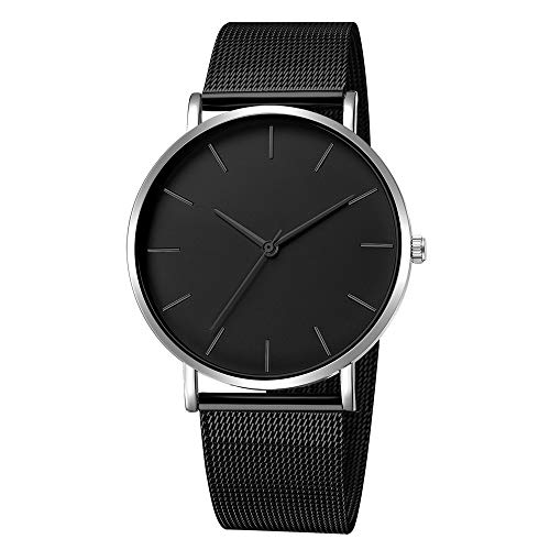 Mens Simple Watch Analog Quartz Stainless Steel Mesh Band Dial Casual Wrist Watches for Men (M-3)