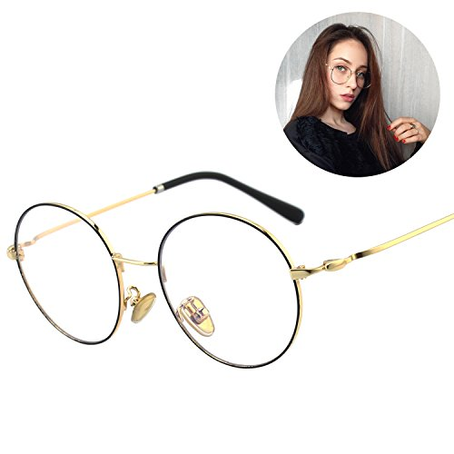 GQUEEN Stylish Blue Light Filter Computer Glasses,Anti glare,Anti Eye Fatigue,100% UV Protection,Transparent Lens Round Cricle Metal - Computer For Eyewear Users Protective