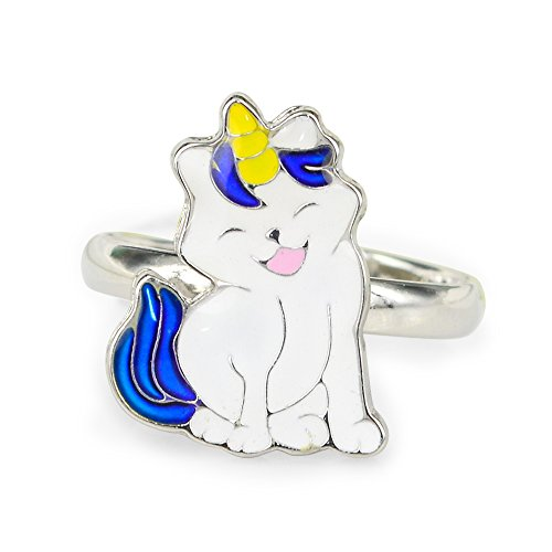 Fun Jewels Fairy Tale Cute Caticorn Unicorn Cat Kids Color Change Mood Ring For Girls Size Adjustable