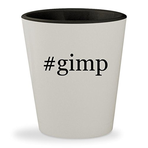 #gimp - Hashtag White Outer & Black Inner Ceramic 1.5oz Shot Glass