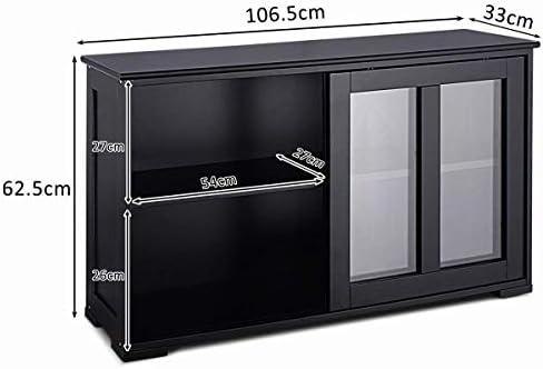 COSTWAY Aparador Cocina Armario de Baño Multiusos Gabinete Lateral con Puertas Correderas (Negro): Amazon.es: Hogar