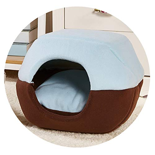 (ZZmeet 3 Colors Washable Dual-use Dog Kennel New Dog Bed Short Flush Cozy Pet House Coffee/Red/Blue,Blue,S - 35x30x20 cm)