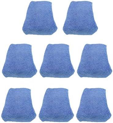 LIOOBO 8 stuks microvezel autospons polijstdoek microvezeldoek auto reinigingssponzen voor autoonderhoud blauw