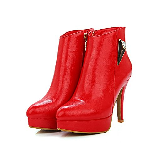 Allhqfashion Women's High-Heels Solid Closed Pointed Toe Soft Material Zipper Boots Red CVoh8NAB2