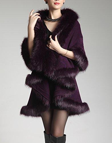 Manteau Laine Style Fourrure Faux Femmes Plaer Fox Mélangée Mode Cape European Purple Deep En zxPZ4