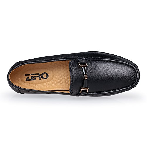 ZRO Men's Buckle Casual Driving Loafers Slip On Moc toe Shoes Fashion BLACK US 6.5