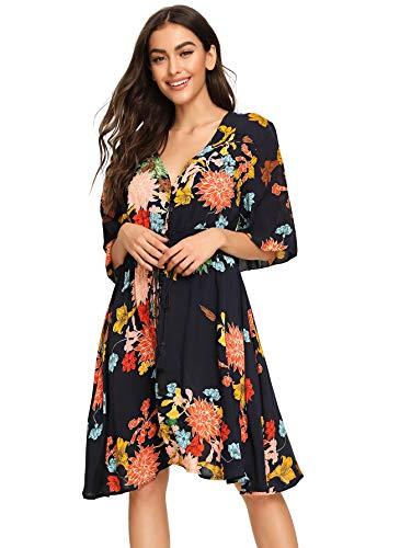 (Milumia Women's Boho Button Up Split Floral Print Flowy Party Dress Large A-Navy )