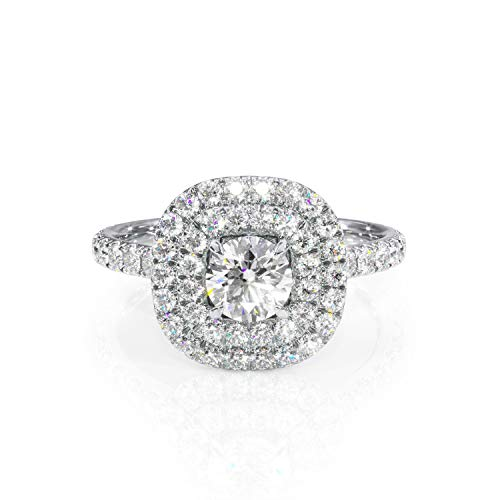 (5mm Round Moissanite and Diamond Double Cushion-Halo Ring. Cathedral Engagement Ring 14k.)
