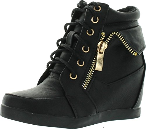 Lucky Top Girls Peter-30K Kids Fashion Leatherette Lace-Up High Top Wedge Sneaker Bootie,Black,2