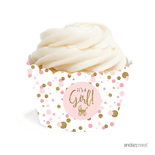 Andaz Press Blush Pink Gold Glitter Girl Baby Shower Party Collection, Cupcake Wrappers, 20-Pack