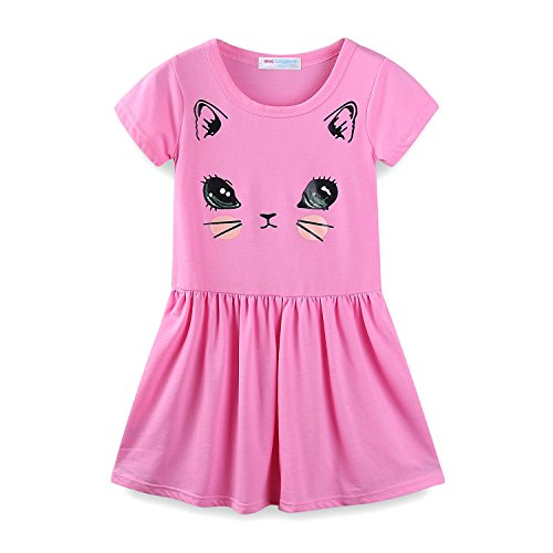 Mud Kingdom Little Girls Dresses Short Sleeve Summer Kitten Size 7 Pink