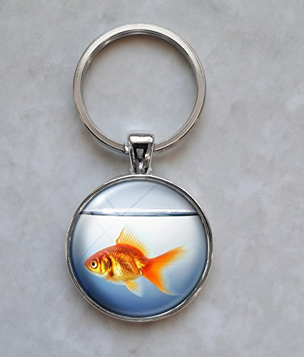 Goldfish in Fishbowl Keychain (Goldfish Resin In)