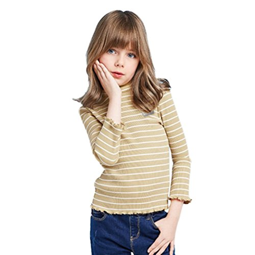 Sunbona Toddler Baby Girls Princess Striped Long Sleeve Ruffled T-Shirt Blouse Fashion Pullover Sweater Coat Kids Clothes (4T(2~3years), (Girls Long Sleeve Ruffled Blouse)