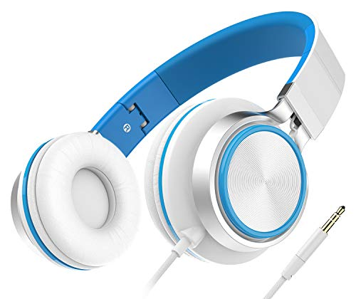 Lightweight Headphones, Honstek Foldable On Ear Headphones for Kids Girls Boys, Wired Stereo Comfortable Headset Compatible with iPhone iPad PC Xbox Tablets MP4 (White/Blue)