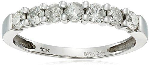 10k Gold 7-Stone Shared-Prong Diamond Ring (1/2 cttw, J-K Color, I2-I3 (10k Wg Diamond Band)