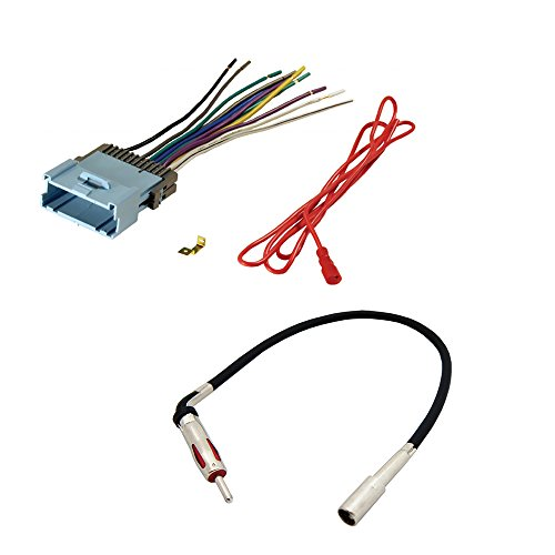 AFTERMARKET CAR STEREO RADIO RECEIVER WIRING HARNESS + RADIO ANTENNA ADAPTER FOR SELECT CHEVROLET AND PONTIAC VEHICLES
