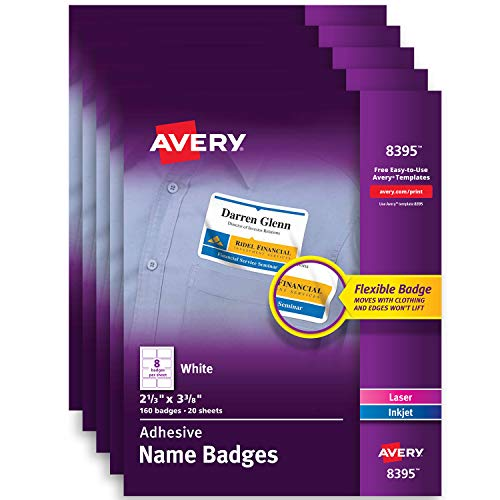 Avery Premium Personalized Name Tags, Print or Write, 2-1/3 x 3-3/8, Pack of 5, 800 Adhesive Tags (8395)