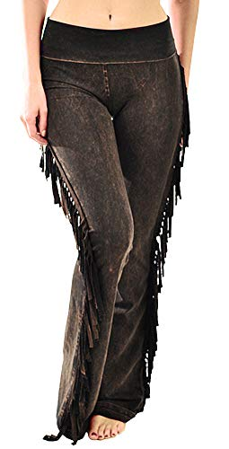 (T Party Women's Fringe Leg Mineral Wash Yoga Pants (Small, Brown))