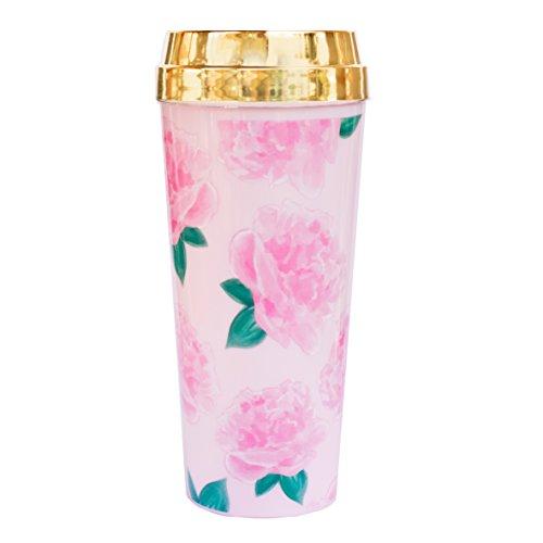 Pink Peonies Travel Mug Gold Mug Gift for Boss Gift for Her Coffee Mugs Travel Tumbler Mug Boss Babe Pink Floral Mug #Girlboss Drinkware Cup Stocking Stuffer