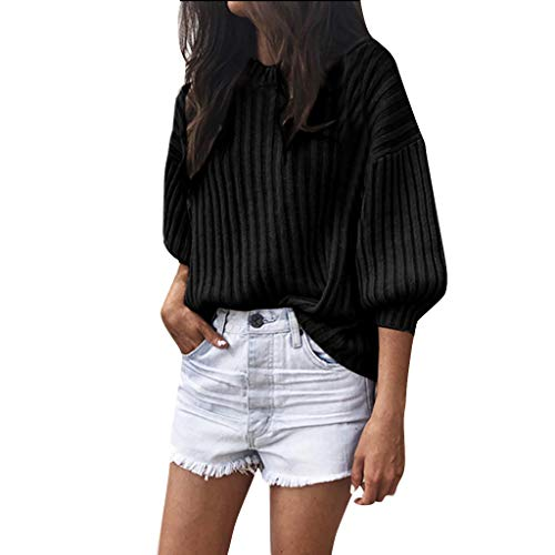 Ulanda Casual Loose Long Sleeve Knitted Shirts for Women Plus Size 3/4 Latern Sleeve Pollover Sweater T-Shirts Tops