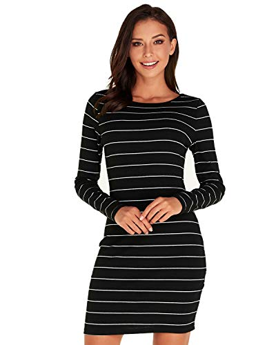 SUNNYME Striped Long Sleeve Dresses for Women Causal Slim Fit Wrap Bodycon Mini Tshirt Dress C-Black M (The Boy In The Striped Pajamas Sparknotes)