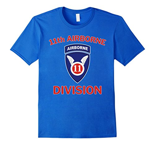 Mens US Army 11th Airborne Division Vintage T-Shirt Medium Royal Blue 11th Airborne Division