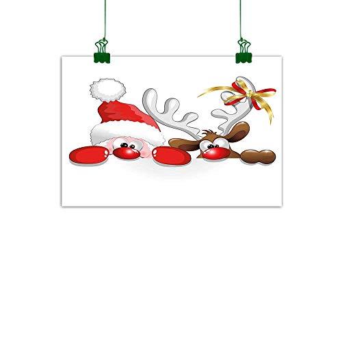 J Chief Sky Christmas Wall Painting Funny Christmas Santa Claus and Reindeer Peeking Cartoon Style Humor Living Room Wall Decor W 32