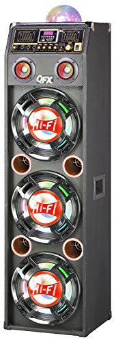 QFX SBX-410306BT-RED Bluetooth Cabinet Speaker with Built-In Amplifier by QFX