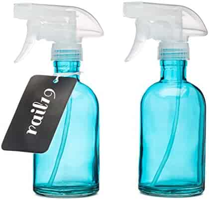 Set of Two Rail19 Beach Blue Glass Spray Bottle w/Clear Spray Nozzle
