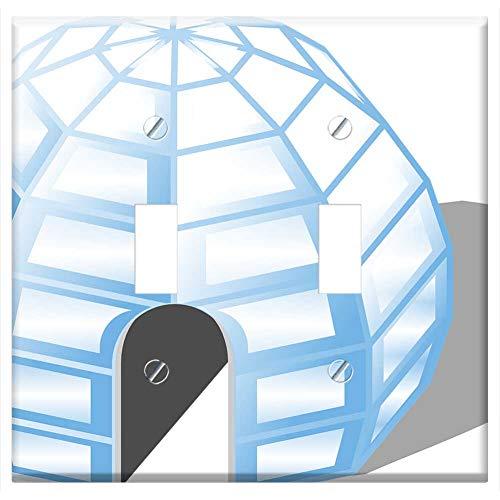 Switch Plate Double Toggle - Igloo Ice House Cold Inuit Eskimo Living Home -  Tree26, Wall-DT-M9E3BQ46JM0W