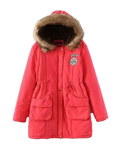 Parka Femme Fourrure Coats Outwear Liangzhu Longue Artificielle Manteau Slim Chaud Rouge L Capuche Pastque 0Znx5vn