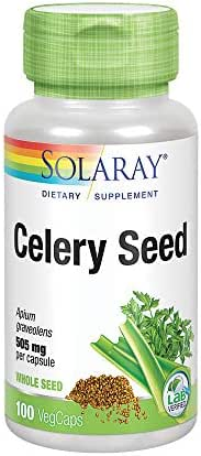 Solaray Celery Seed 505mg | Healthy Cardiovascular, Liver, Water Balance & Joint Support | Whole Seed w/ Phytochemicals & Flavonoids | Non-GMO | 100ct