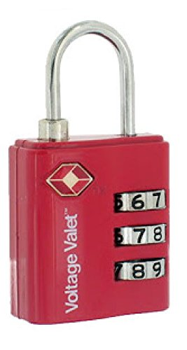 Voltage 3 Dial Combination Lock TSA Certified (Red)