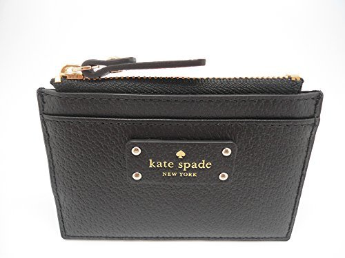 Kate Spade New York Adi Grove Street Pebbled Leather Card Wallet Coin Purse (Black)