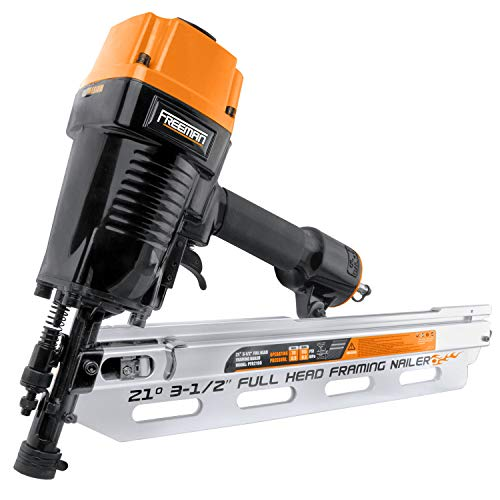 Freeman PFR2190 Pneumatic 21 Degree 3-1 2 Full Round Head Framing Nailer with Case Ergonomic and Lightweight Nail Gun with Interchangeable Trigger, Tool-Free Depth Adjust, and No Mar Tip