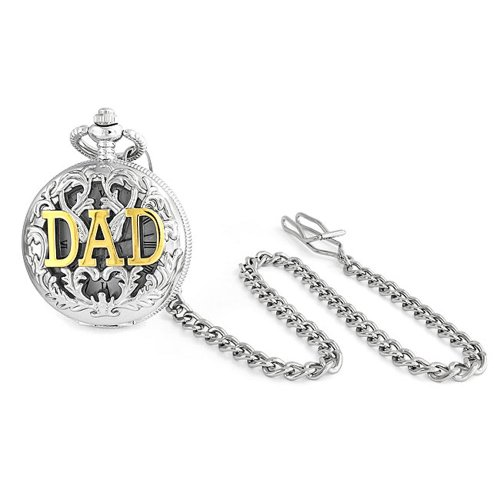 Bling Jewelry Large Two Tone DAD Gold Plated Simulated Quartz Mens Pocket Watch