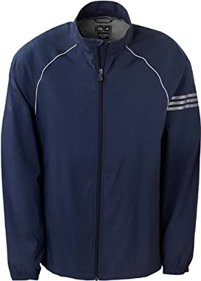 ab93331c Amazon.com: Adidas Golf A69 ClimaProof Mens 3-Stripes Full-Zip Jacket -  Navy/White/Sterling - XXX-Large: Sports & Outdoors