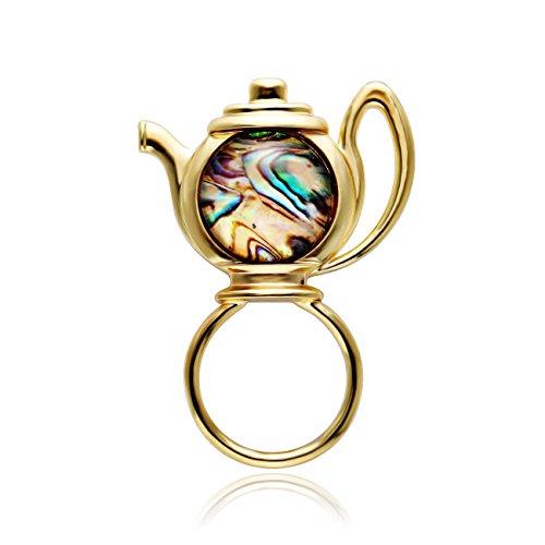 MANZHEN Transparent Glass Abalone Shell Teapot Magnetic Brooch Magnetic Badge Eyeglass Holder (gold)